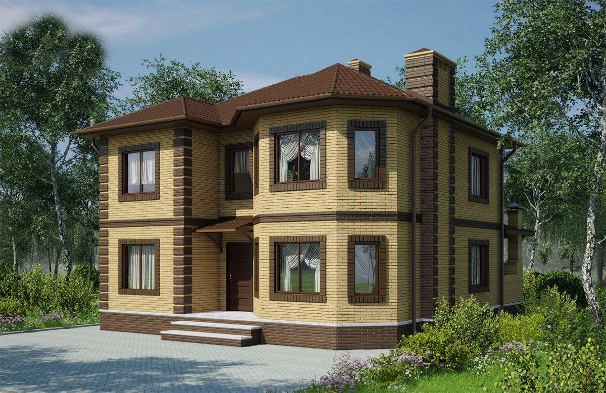 этого квадратный дом с двумя эркерами проект фото легком